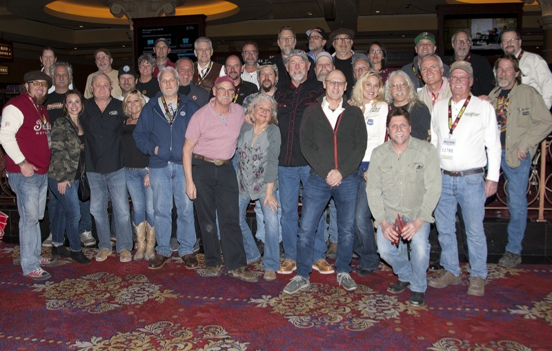 The Motorcycle Cannonball family photo included several riders from as far back as the inaugural 2010 run as well as 2018 riders, support and hopefuls for future runs. The Mecum Vegas auction has turned into an annual family reunion for the famous endurance run contenders.