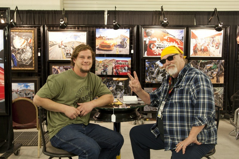 Well-known artist Eric Herrmann (r.) and his son Dustin (l.) were on hand for the 27th annual Las Vegas motorcycle auction. In addition to his paintings, Eric was also selling one of his personal motorcycles at the auction.