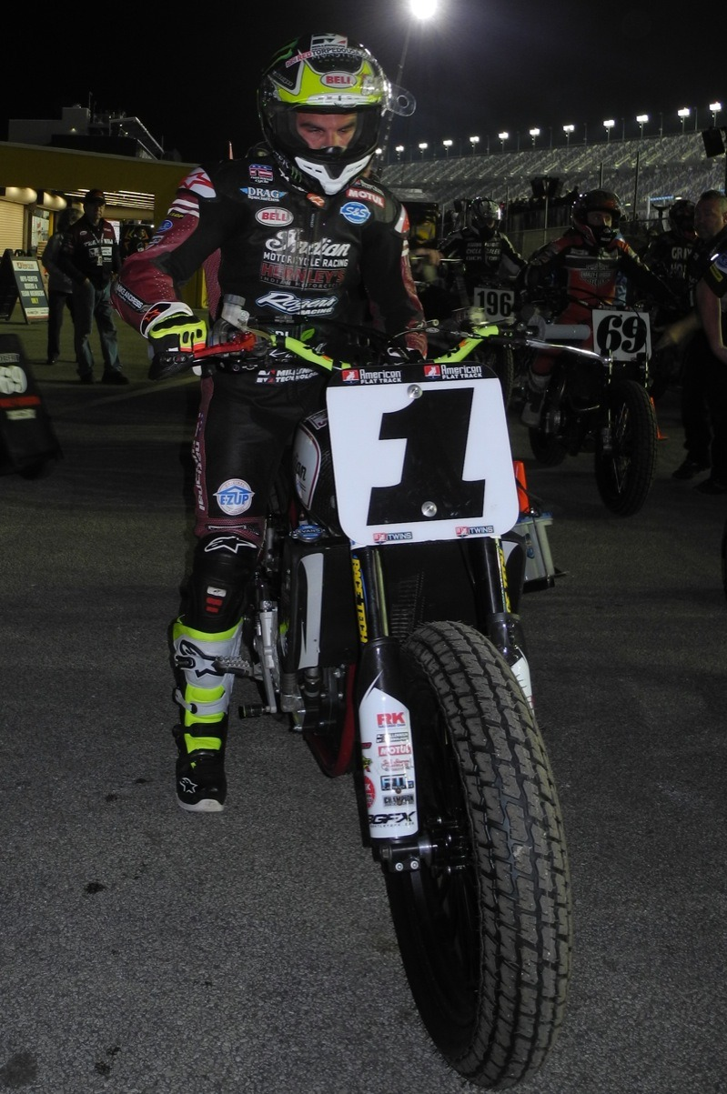 Current American Flat Track champion Jared Mees ready to head out to the Main Event, defending his title at the season opener, The Daytona TT, this past March.