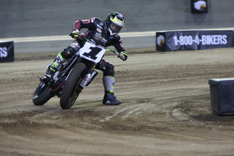 Jared Mees sliding the FTR750 through Turn 1 at Daytona-Photo courtesy of Indian Motorcycle