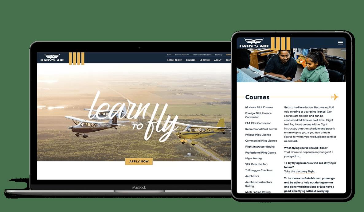 Mockup image of Harv's Air website on desktop