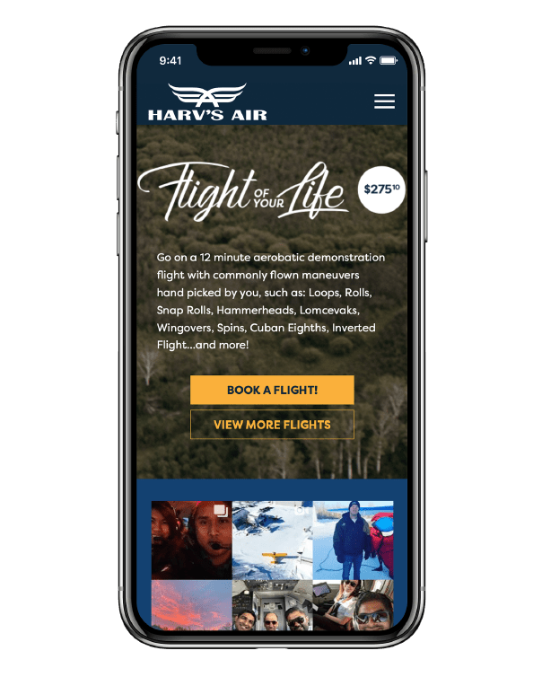 Mockup image of Harv's Air website on mobile device