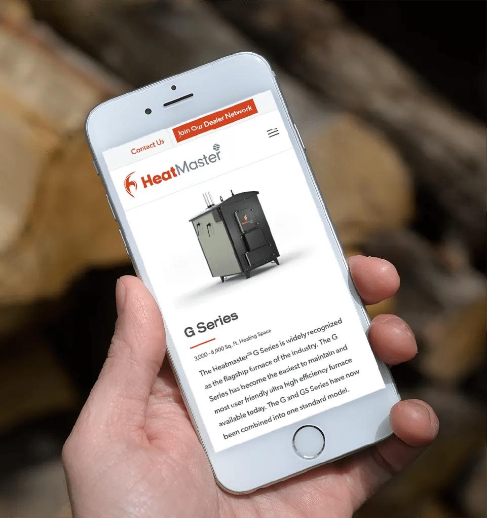 Mockup image of HeatmasterSS website on mobile device