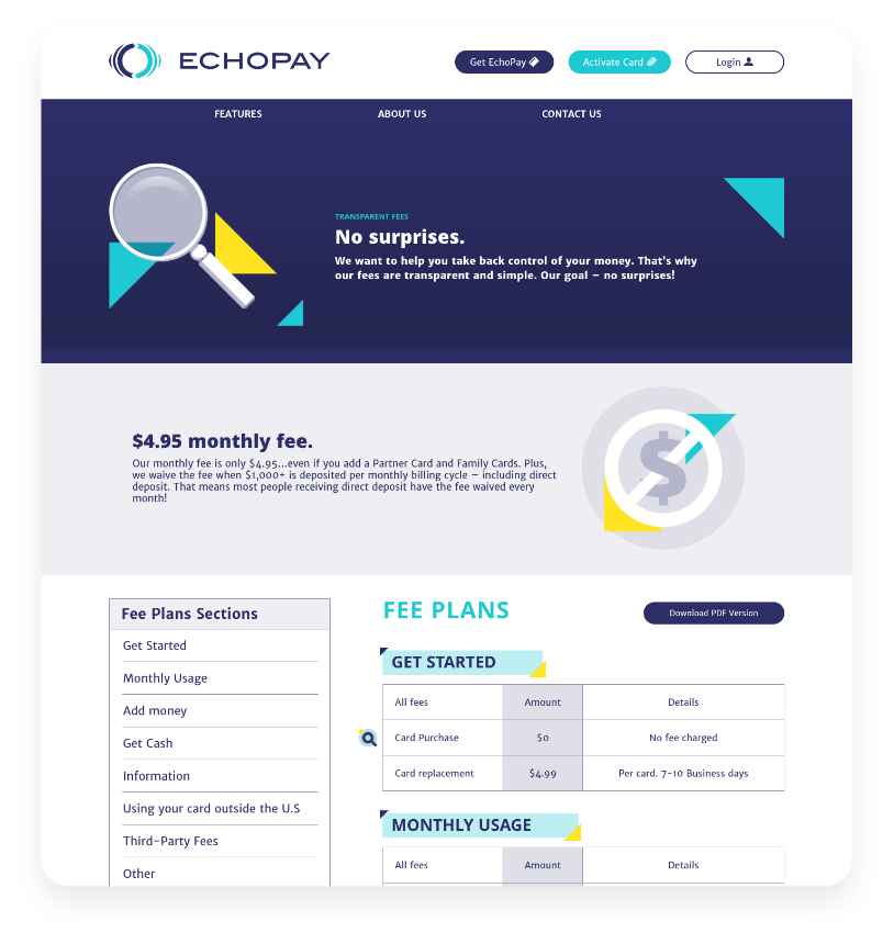 Designed Information Sheet about transparent fees for EchoPay