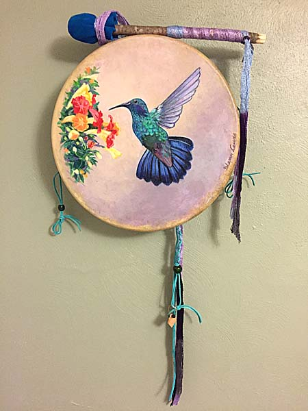 medicine drum with Hummingbird painting