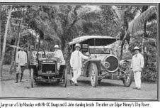 5 hp Mauslay with  Mr GC Grapp (left)  & O.John. Other car is Edgar Money's 8 hp Rover.