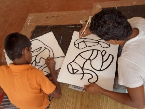 Children Engaged in Mystery Painting at Vajira Sri Childrens Development Centre