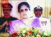 resident Chandrika Kumaratunga delivers her Independence Day address to the nation from her official residence,