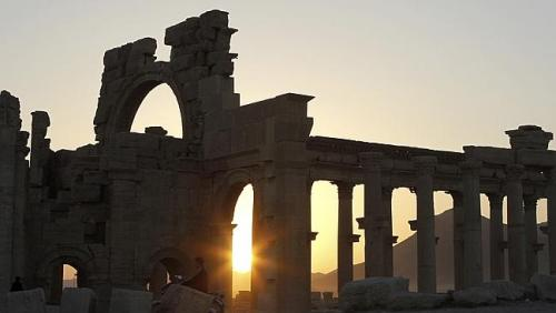Ruins in Palmyra in the Syrian desert