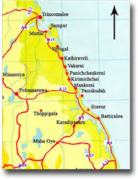 map showing roads leading to Toppigala area
