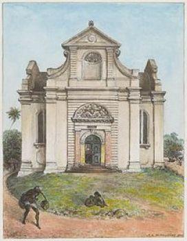 Dutch_Reformed_Church,_Colombo Watercolour painting of the Dutch Reformed Church (Wolvendaal), Colombo by J. L. K. van Dort (1888)