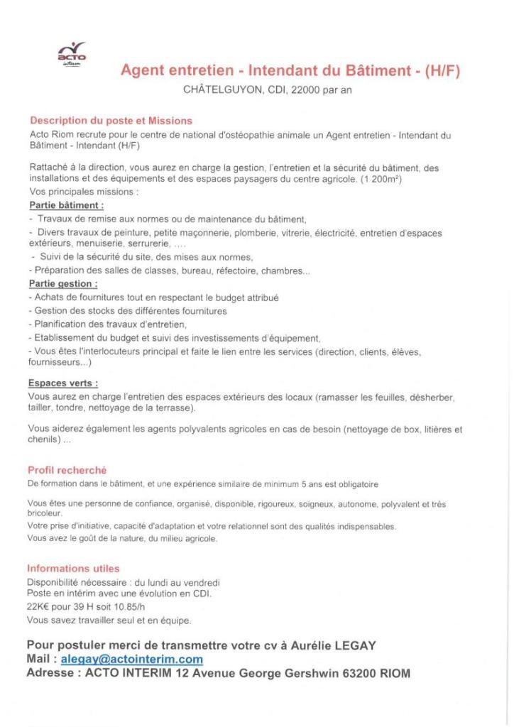 e42a27d70a7 Agent D Entretien Thuret. Visualisation Du Fichier Agent D Entretien Agents  Remplacants Offre