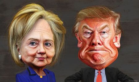 Clinton and Trump Caricatures