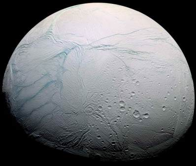 Enceladus - One of Saturn's 62 moons - It is encapsulated by ice 19-25 miles thick