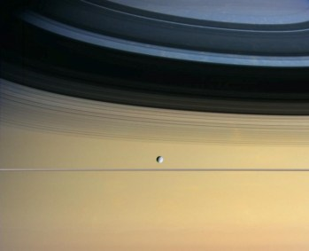 Saturn - Dione and Saturn's Rings