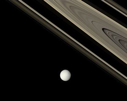 Saturn, Tethys and Rings