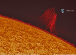 Solar Prominence - with Earth to scale