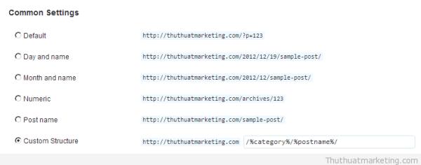 Cấu hình permalink trên WordPress