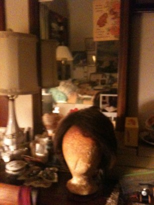 My mother's bedroom, featuring one of her wigs