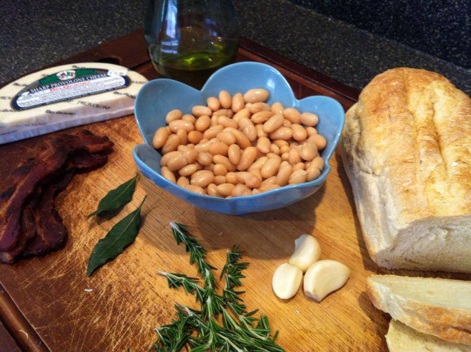 Bacon Rosemary Cannellini Beans ingredients on cutting board