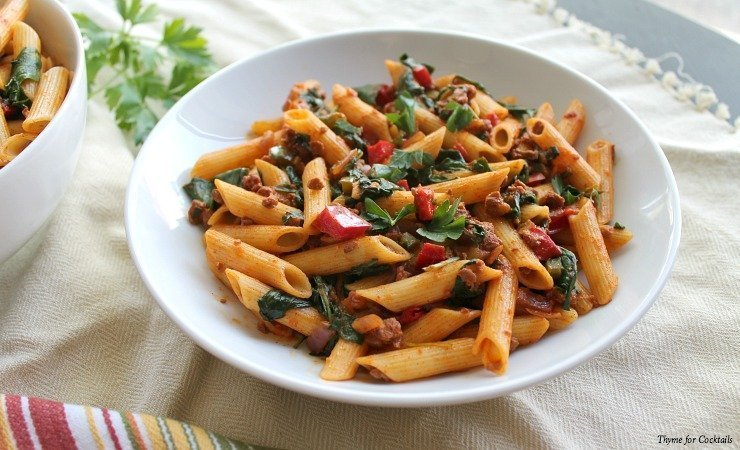 Soyrizo& Spinach Penne~ Thyme for Cocktails