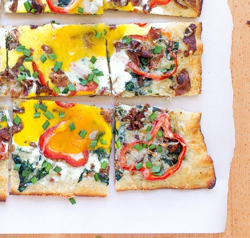 Bacon Spinach Breakfast Pizza