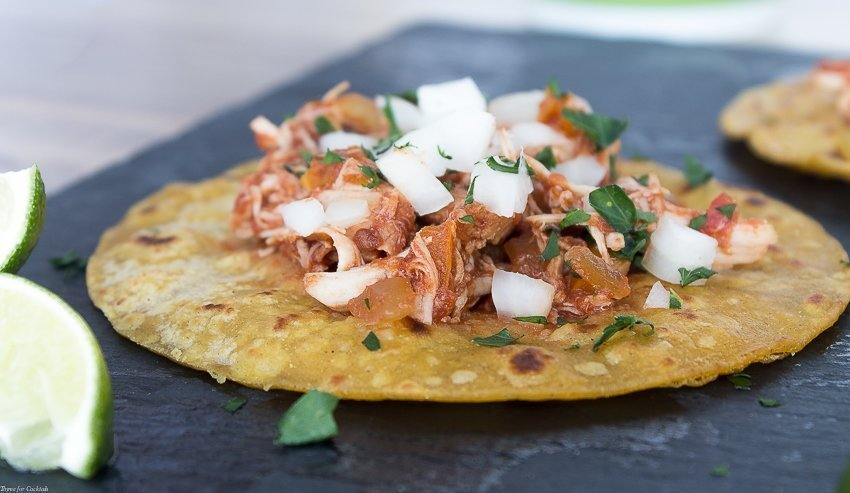 Slow Cooker Chicken Tinga Tacos Recipe ~ Thyme for Cocktails