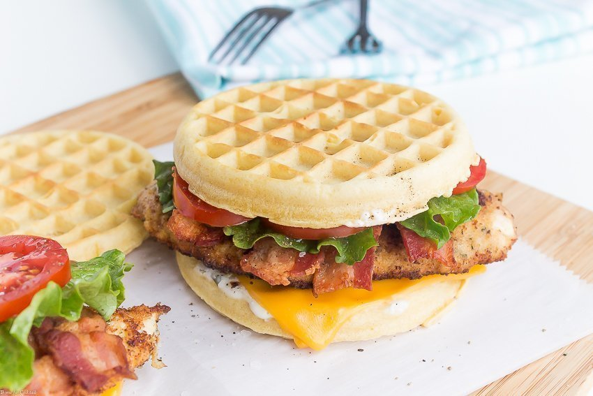 Chicken Bacon Ranch Waffle Sandwiches