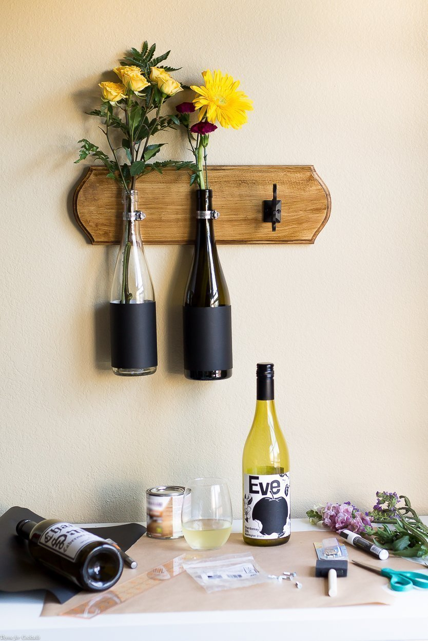 Diy wine bottle wall vase tutorial thyme for cocktails if you are searching for a creative way to recycle your weekend wine bottles look no reviewsmspy