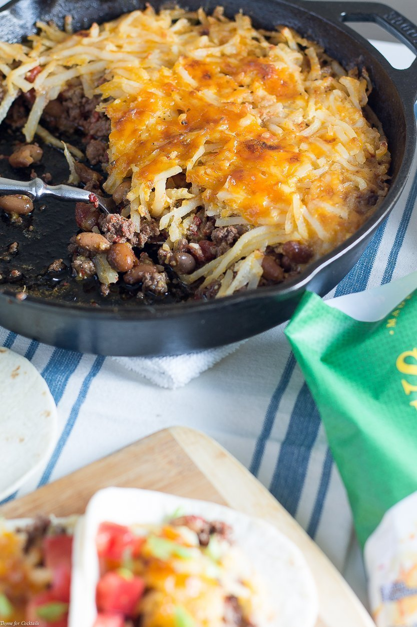 This 10-Ingredient Hash Brown Taco Skillet recipe is so easy, flavorful, and cheesy it will be the first recipe you reach for when you want a quick comfort food dish.