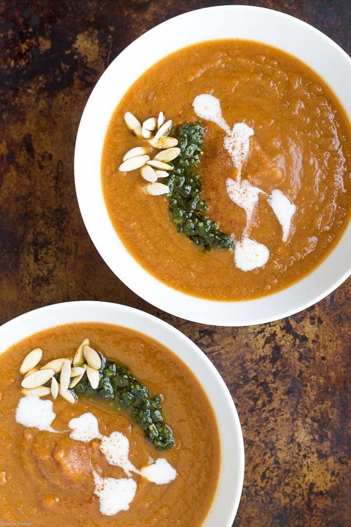 two bowls of dairy-free, vegetarian Smoky Pear Sweet Potato Soup
