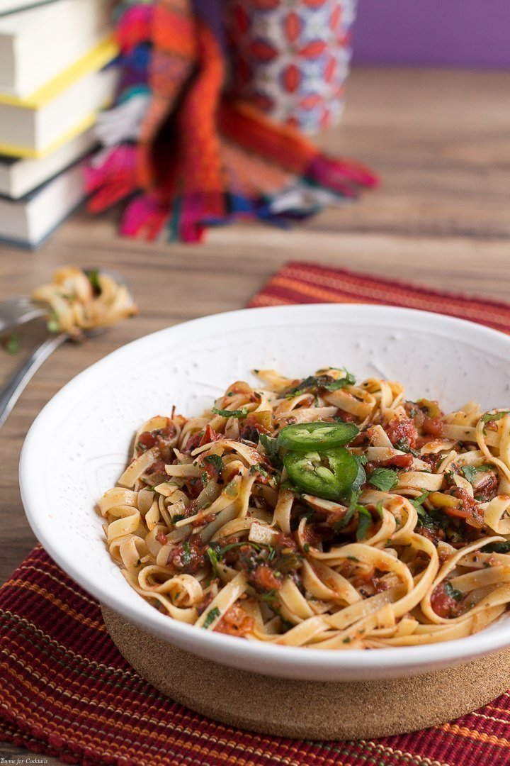Spicy 5-Ingredient Fire Roasted Salsa Pasta