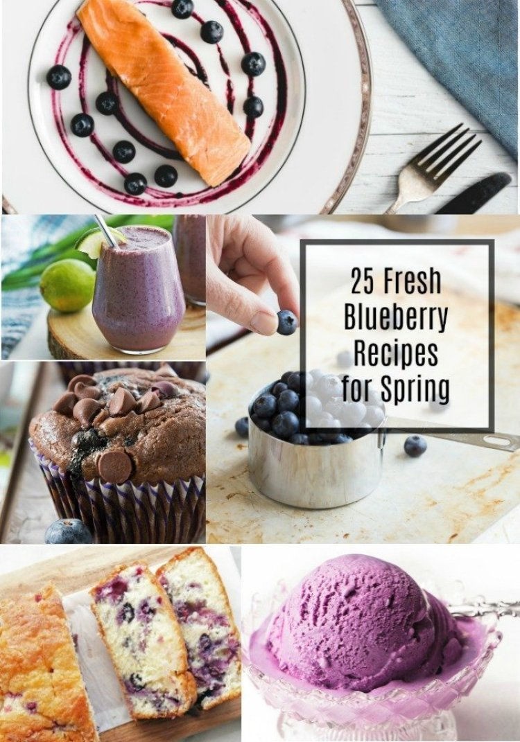 Get ready for blueberry season by drooling over this collection of 25 Fresh Blueberry Recipes just bursting with juicy, seasonal berries. Recipes include desserts, breakfast ideas, savory dishes, drinks, and even ones featuring our favorite flavor combo- lemon blueberry! - Pinterest collage
