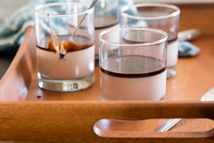individual Spiced Chocolate Panna Cotta with chocolate syrup + cayenne pepper