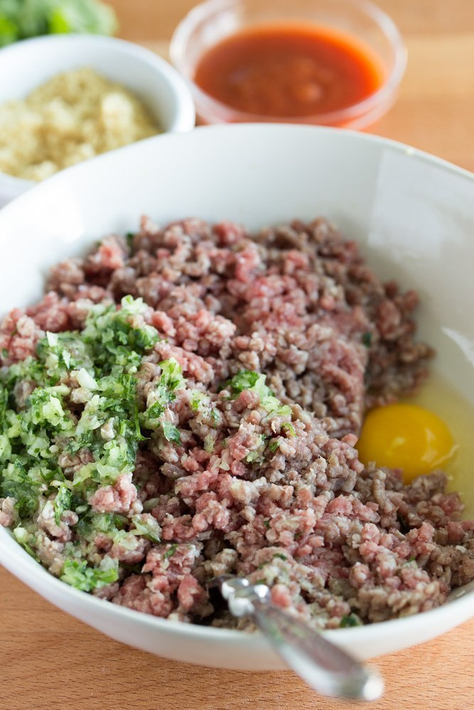 hamburger with cilantro mix and egg - Southwest Meatloaf Burger