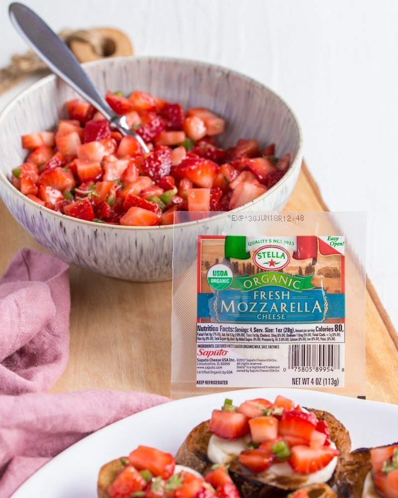 strawberry jalapeno topping and Stella Fresh Mozzarella Cheese for Strawberry Jalapeno Bruschetta