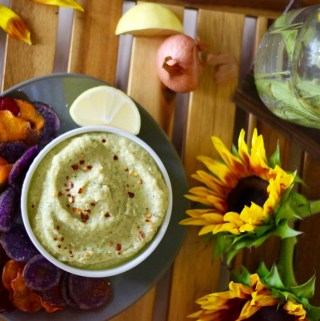 Herbed Green Hummus with Root Vegetable Chips
