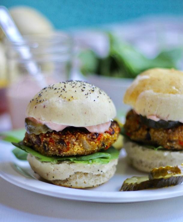 Crunchy Quinoa Polenta Veggie Burgers
