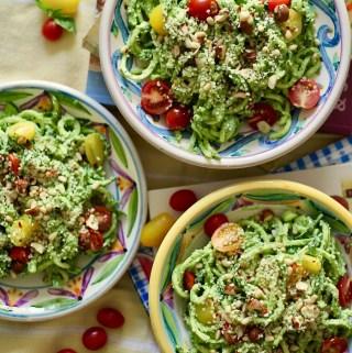 Raw Vegan Avocado Pesto with Zucchini Noodles