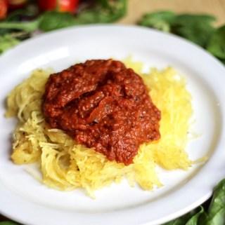 Slow Roasted Tomato Sauce with Garlic Spaghetti Squash