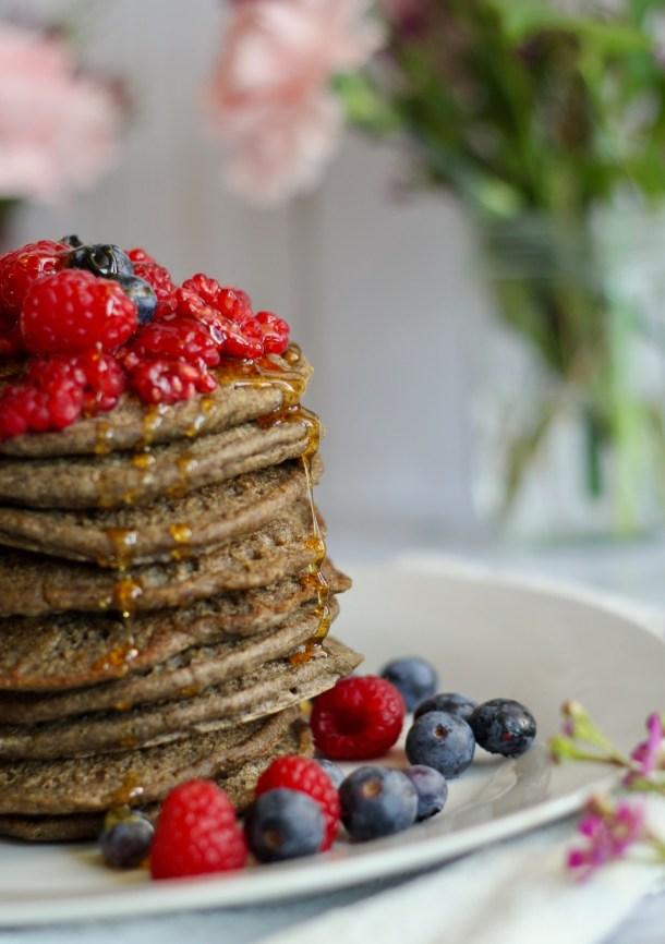 Vegan Buckwheat Almond Butter Pancakes