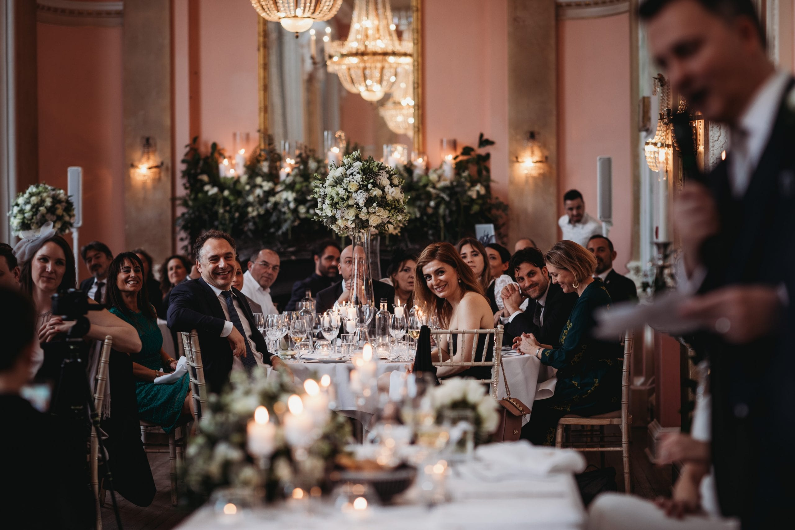 guests during speeches at a Danesfield House wedding