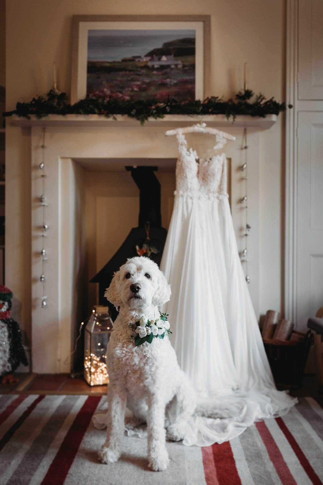 dog sitting in front of a fireplace next to a bridal dress