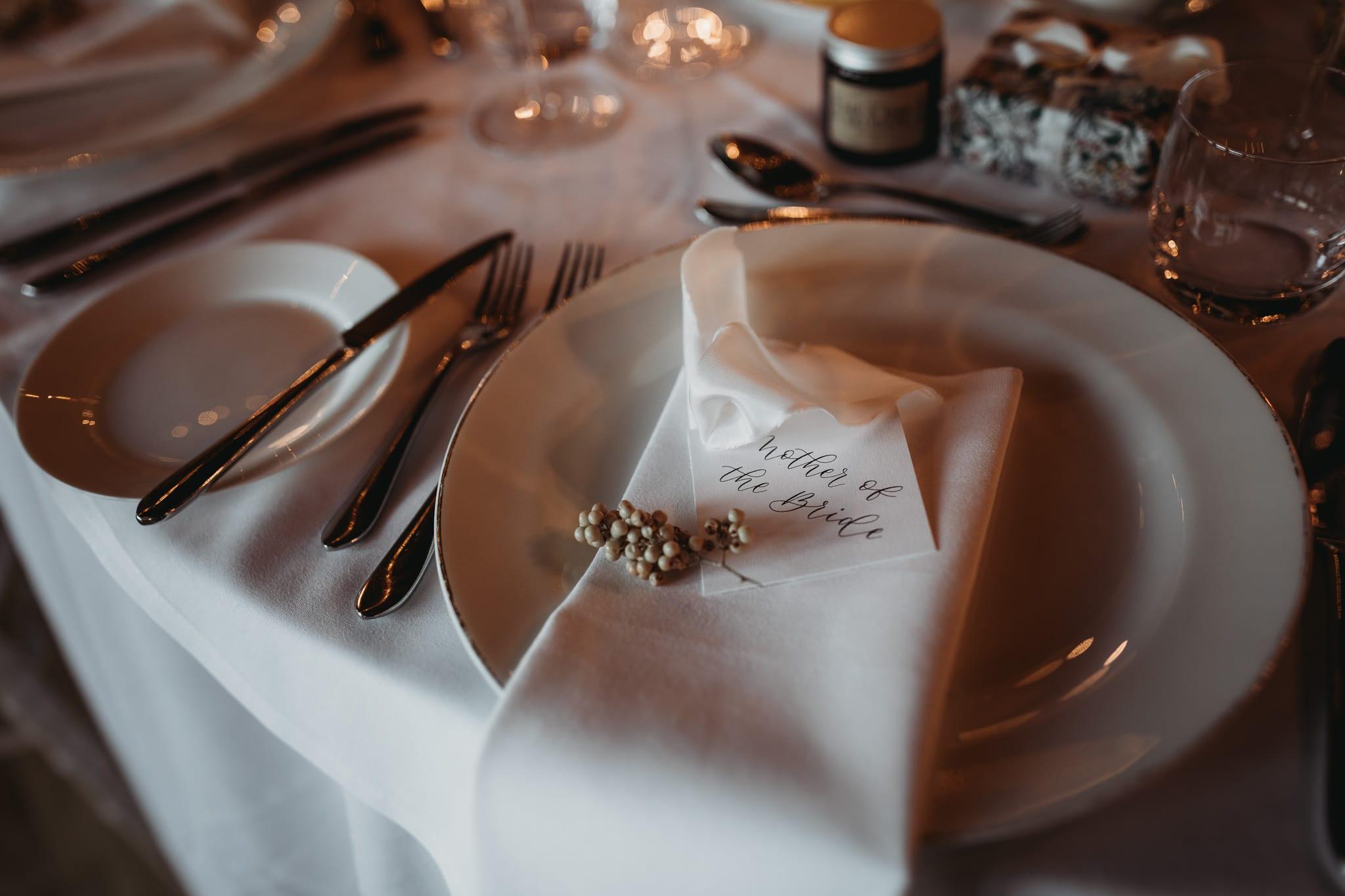 place card closeup at Granary Estates Intimate wedding
