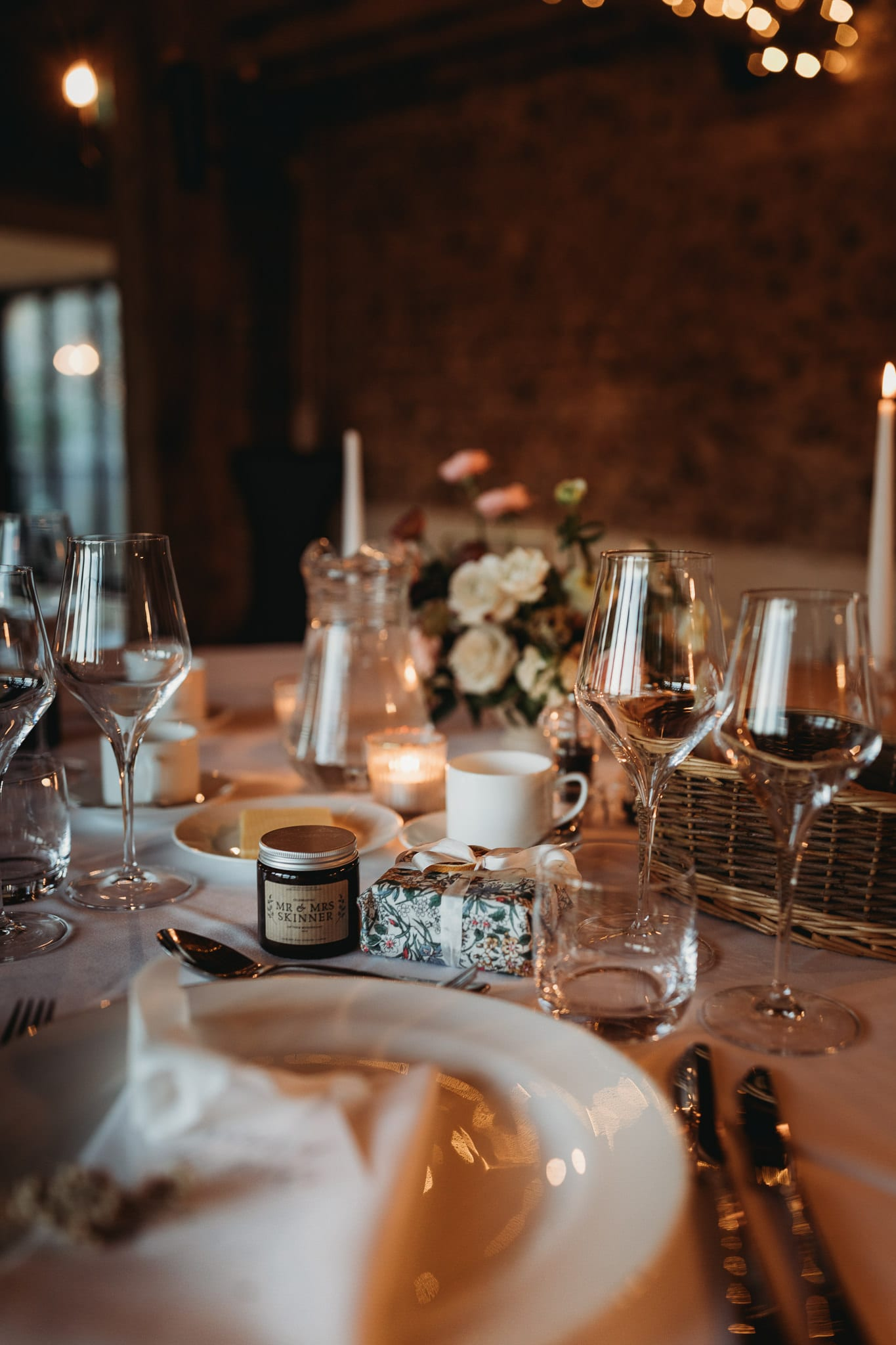 table details at Granary Estates Intimate wedding