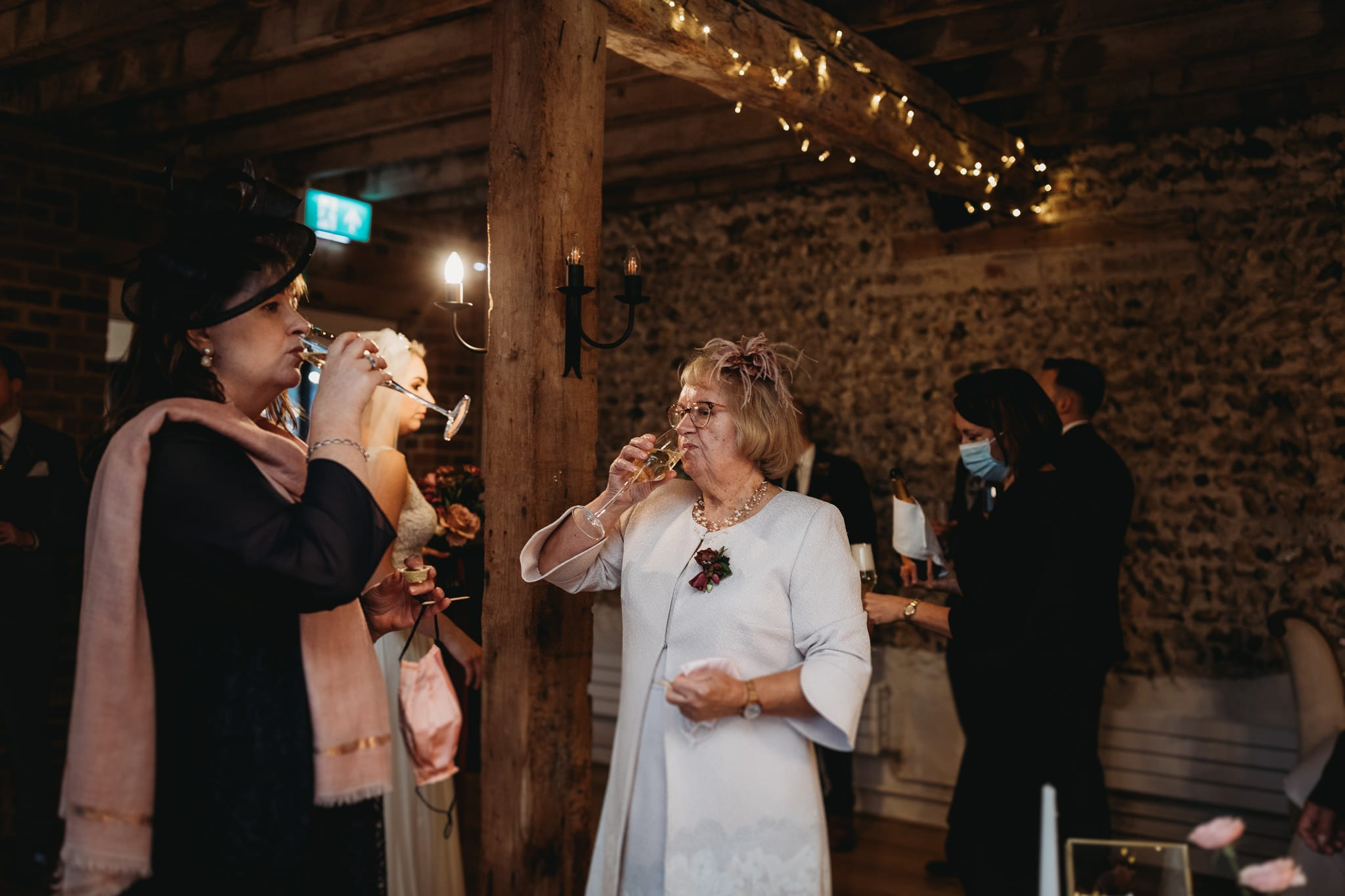 two women drinking champagne at Granary Estates Intimate wedding