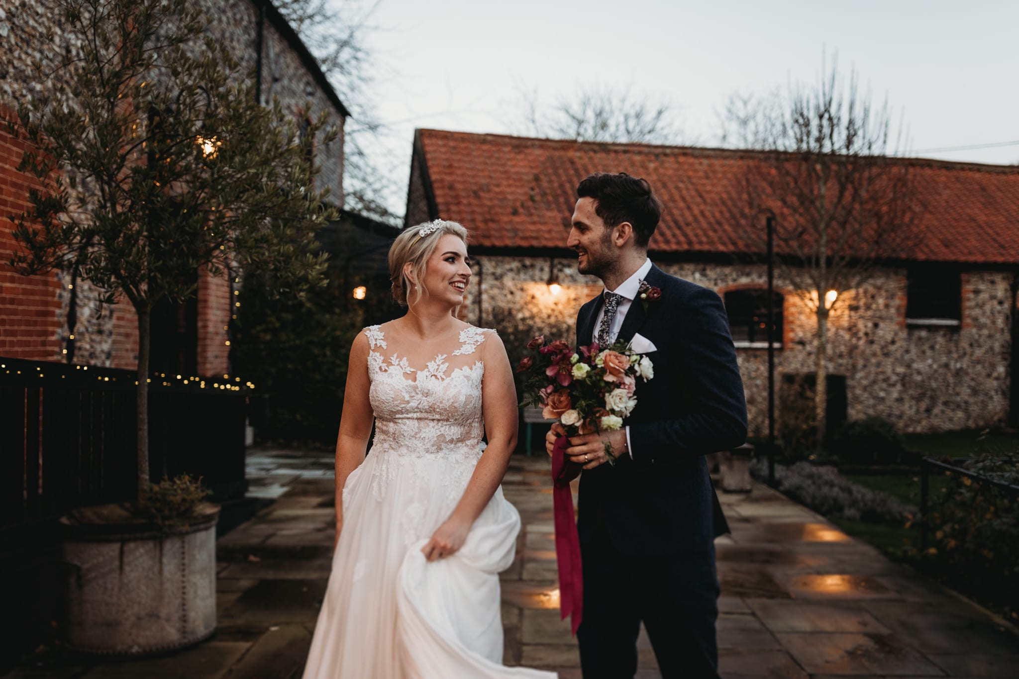bride and groom looking at each other at Granary Estates Intimate wedding