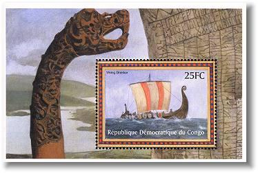 Stamp Viking ship Congo