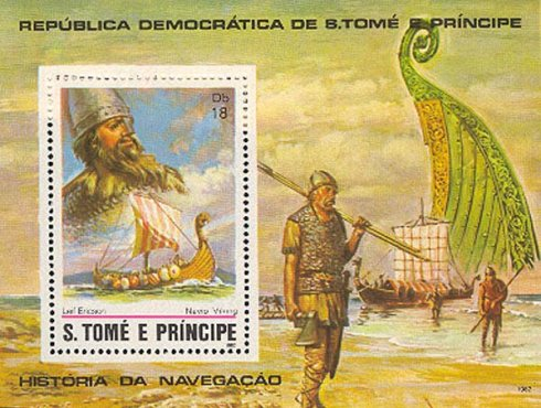 Stamp S tome e principe Viking ship