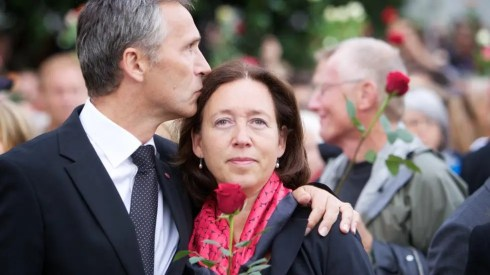 Jens Stoltenberg kissing his wife Ingrid Schulerud after the Oslo bombing and Utøya shooting